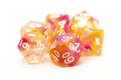 Old School RPG Dice Set: Nebula - Orange & Pink