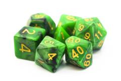 Old School RPG Dice Set: Vorpal - Green & Black w/ Gold