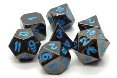 Old School RPG Metal Dice: Halfling Forged - Black Nickel w/ Blue
