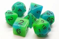 Old School 7 Piece DnD RPG Dice Set: Glow Dice - Green & Blue