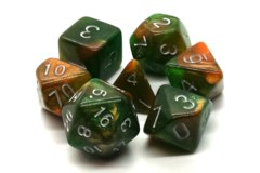 Old School RPG Dice Set: Galaxy - Emerald & Orange