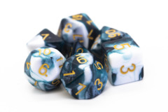 Old School RPG Dice Set: Vorpal - Dark Blue & White w/ Gold