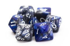 Old School RPG Dice Set: Vorpal - Silver & Blue