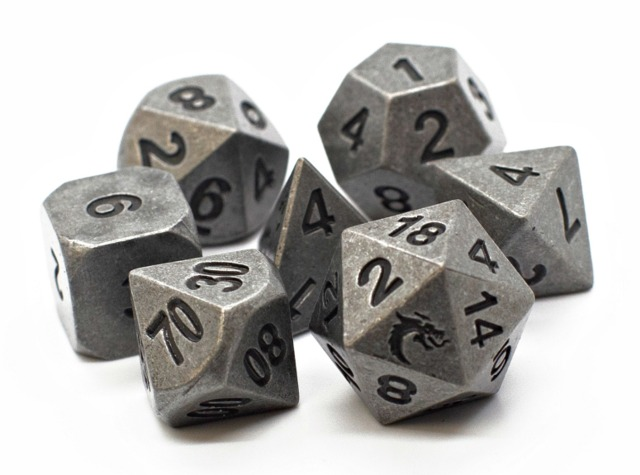Old School RPG Metal Dice Set: Dwarven Forged - Archaic Silver