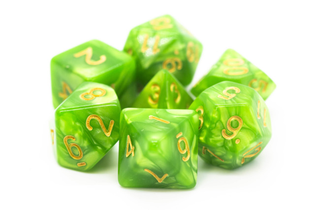 Old School RPG Dice Set: Pearl Drop - Light Green w/ Gold