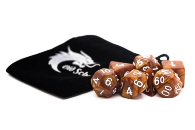 Old School RPG Dice Set: Pearl Drop - Brown