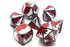 Old School RPG Metal Dice Set: Dragon Forged - Red & White w/ Black Nickel