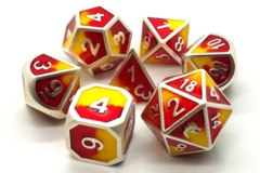 Old School Metal RPG Dice: Dragon Forged - Platinum Red & Yellow