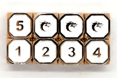 Old School DnD RPG Metal Dice D6 Set: Elven Forged - White w/ Gold