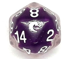 Old School D20 DnD RPG Die: Liquid Infused - Metallic Purple