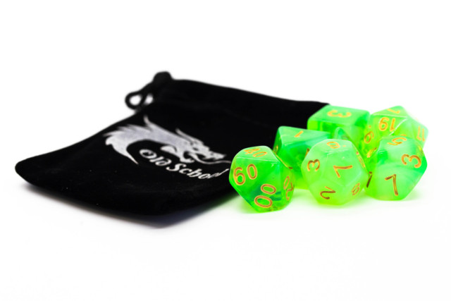 Old School RPG Dice Set: Nebula - Lightning Green