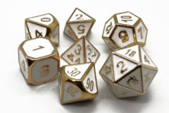 Old School RPG Metal Dice: Elven Forged - White w/ Gold