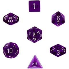Translucent Purple w/ White Polyhedral 7-Die Set