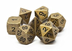 Old School RPG Metal Dice Set: Dwarven Forged - Archaic Gold