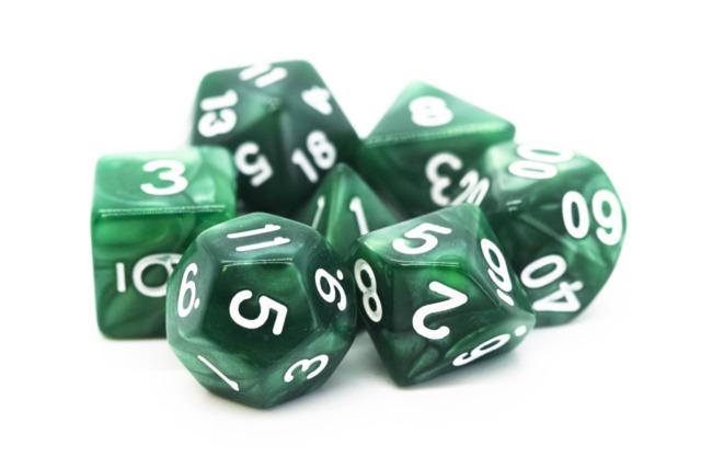 Old School RPG Dice Set: Pearl Drop - Green