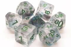 Old School 7 Piece DnD RPG Dice Set: Infused - Blue Moon