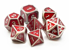 Old School RPG Metal Dice Set: Elven Forged - Metallic Red
