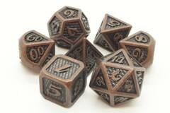 Old School 7 Piece DnD RPG Metal Dice Set: Dragon Scale - Ancient Bronze