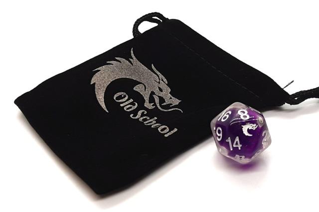 Old School D20 DnD RPG Die: Liquid Infused - Metallic Purple