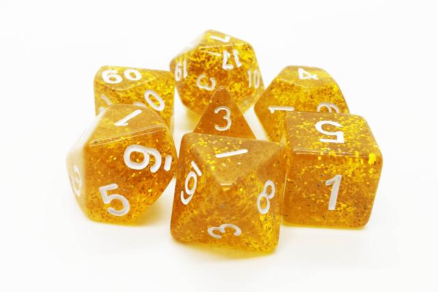 Old School RPG Dice Set: Sparkle - Translucent Gold