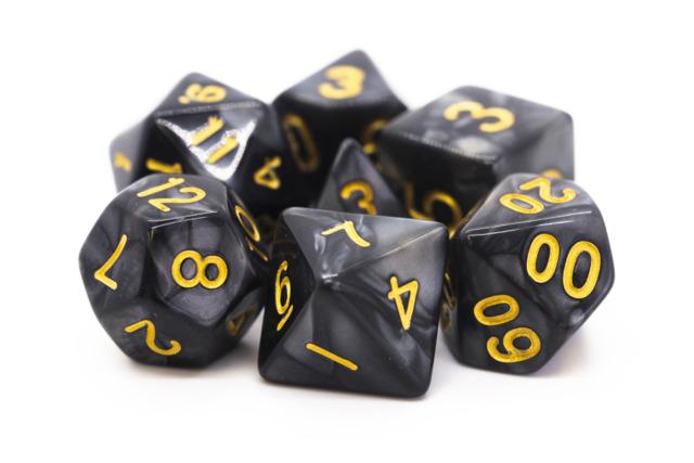 Old School RPG Dice Set: Pearl Drop - Black w / Gold