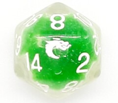 Old School D20 DnD RPG Die: Liquid Infused - Metallic Green