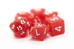 Old School RPG Dice Set: Sparkle - Translucent Red