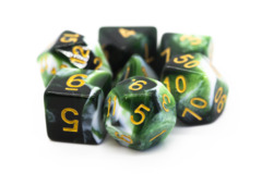 Old School RPG Dice Set: Vorpal - Green & White w/ Gold