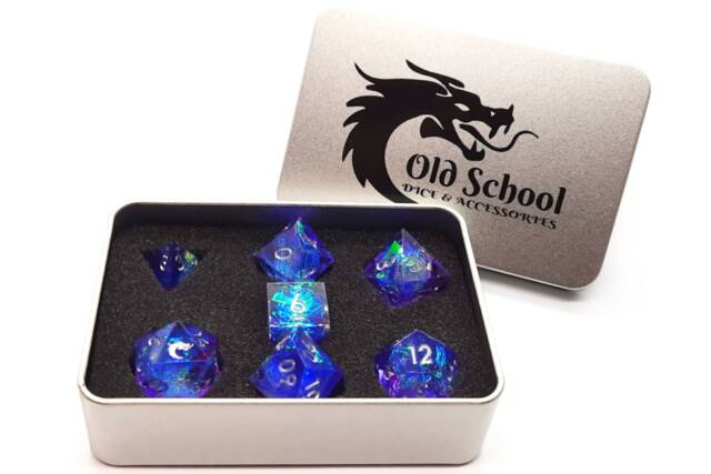 Old School 7 Piece DnD RPG Dice Set: Sharp Edged - Sapphire Burst