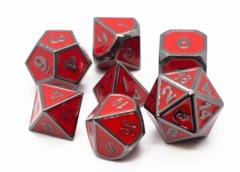 Old School RPG Metal Dice Set: Elven Forged - Red w/ Black Nickel
