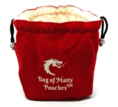 Old School Dice: Bag of Many Pouches Dice Bag - Red