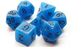 Old School 7 Piece DnD RPG Dice Set: Glow Dice - Blue
