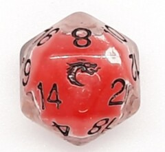 Old School D20 DnD RPG Die: Liquid Infused - Metallic Cherry Red