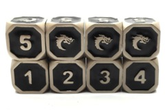 Old School Metal Dice D6 Set: Elven Forged - Black w/ Silver