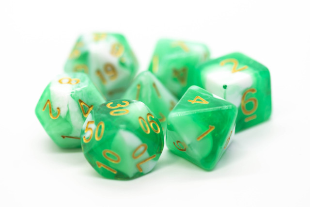 Old School RPG Dice Set: Vorpal - Cyan & White w/ Gold