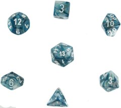 Polyhedral 7-Die Lustrous Chessex Dice Set - Slate with White CHX-27490
