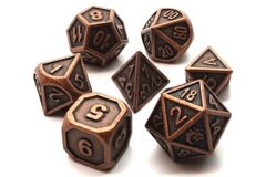 Old School 7 Piece DnD RPG Metal Dice Set: Dwarven Forged - Ancient Bronze
