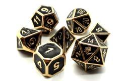 Old School RPG Metal Dice Set: Elven Forged - Black w/ Gold