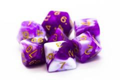 Old School RPG Dice Set: Vorpal - Purple & White w/ Gold