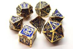 Old School 7 Piece DnD RPG Metal Dice Set: Knights of the Round Table - Blue w/ Gold