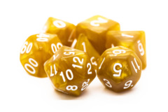 Old School RPG Dice Set: Pearl Drop - Gold