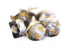 Old School RPG Dice Set: Vorpal - Black & White w/ Gold