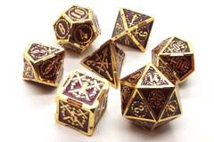 Old School 7 Piece DnD RPG Metal Dice Set: Knights of the Round Table - Red w/ Gold