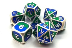 Old School Metal RPG Dice: Dragon Forged - Platinum Blue & Green