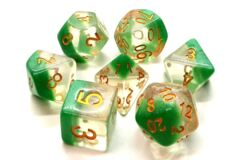 Old School 7 Piece DnD RPG Dice Set: Luminous - Morning Mist