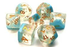 Old School 7 Piece DnD RPG Dice Set: Luminous - Winter's Breath