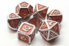 Old School 7 Piece DnD RPG Metal Dice Set: Dragon Scale - Orange