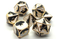 Old School Metal RPG Dice: Dragon Forged - Black & White w/ Gold