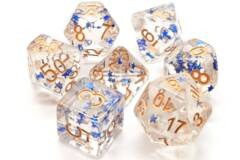 Old School 7 Piece DnD RPG Dice Set: Infused - Blue Stars w/ Gold