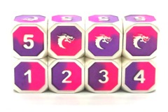 Old School Metal D6 Set: Dragon Forged - Platinum Purple & Pink